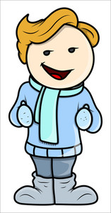 Cool Kid In Winter Cloths - Vector Cartoon Illustration