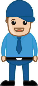 Cool Man With Cap - Business Cartoon Character Vector