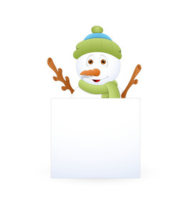 Cool Snowman With Blank Ad Banner
