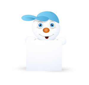 Cool Snowman With Blank Info Banner