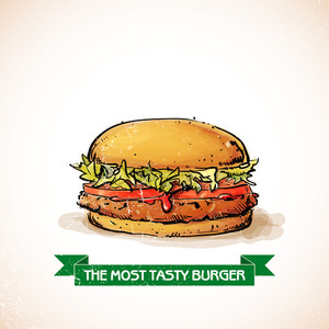 Cool Tasty Hamburger. Sketch + Watercolor Style. Vector Illustration.