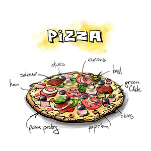 Cool Tasty Pizza. Sketch + Watercolor Style. Vector Illustration.