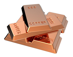 Copper Ingots Isolated On White.