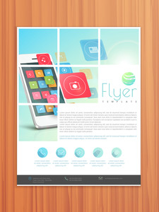 Corporate business flyer template or brochure design for technology and networking concept.