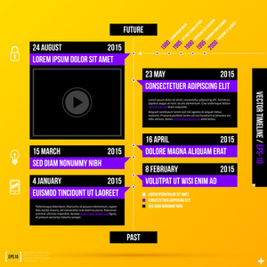 Corporate Timeline Template On Bright Yellow Background. Eps10