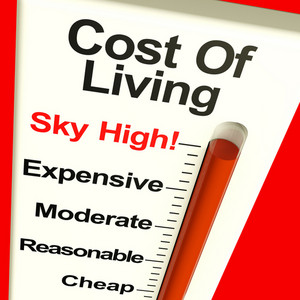 Cost Of Living Expenses Sky High Monitor Showing Increasing Costs