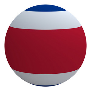 Costa Rica Flag On The Ball Isolated On White.