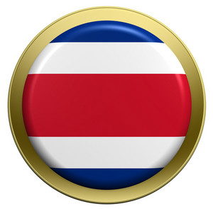 Costa Rica Flag On The Round Button Isolated On White.