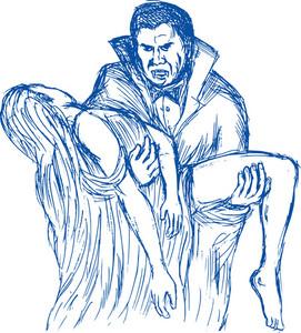 Count Dracula Or Vampire Carrying His Prey