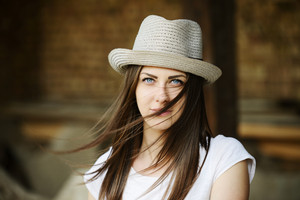 Country young woman with cowboy hat