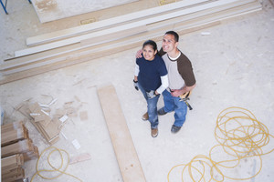 Couple building a home