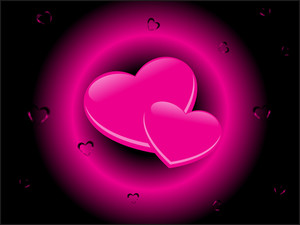 Couple Heart In A Ring Shining In Pink