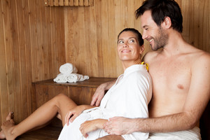 Couple in love in the sauna
