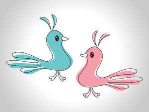 Couple Of Love Birds As An Element For Valentine's Day And Other Occasion. Vector Illustration.