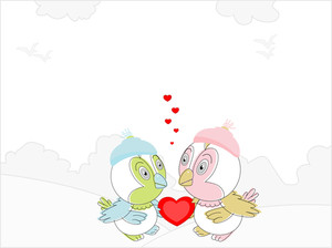 Couple Of Love Birds With A Red Heart Showing Love.vector Illustration.