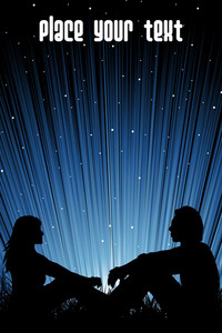 Couple Sit In Garden With Rays Background
