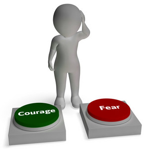 Courage Fear Buttons Shows Courageous Or Fearful