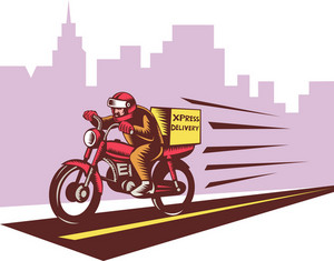 Courier Delivery Person Riding Motorbike