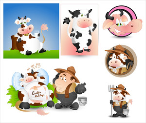 Cow Milk And Milkman Vectors