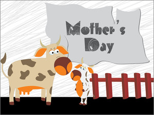 Cow With Calf Illustration For Mother Day