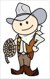 Cowboy Kid - Vector Cartoon Illustration