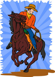 Cowboy On Horse With Lasso