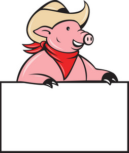 Cowboy Pig Hog Holding Blank Sign