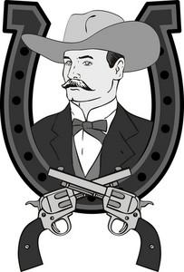 Cowboy Portrait In Horseshoe