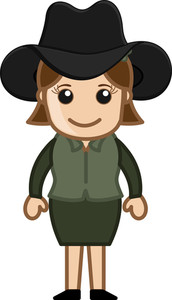 Cowgirl - Vector Character Cartoon Illustration