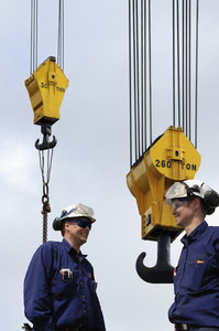 crane hooks and building workers