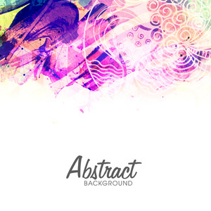 Creative abstract background with colorful paint stroke and floral design.