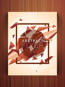 Creative Abstract design flyer banner or template for your business on wooden background.