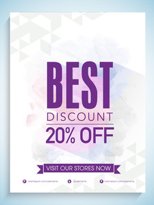 Creative abstract flyer banner or template design of Sale with 20% discount offer on colorful splash background.