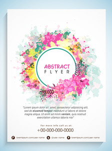 Creative abstract flyer template or banner decorated with colorful splash and flowers.