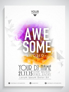 Creative abstract flyer template or banner design decorated with colorful splash for Awesome Party.
