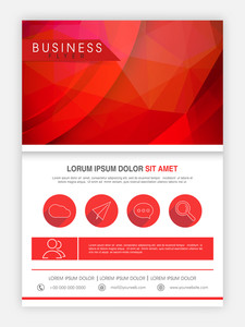 Creative abstract flyer template or banner design in red and white colors for business.