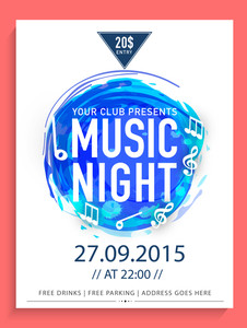 Creative abstract flyer template or banner design with date and time details for Music Night.
