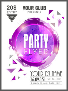 Creative abstract Party flyer template or banner design with details.