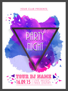 Creative abstract Party Night flyer template or banner design decorated with shiny color splash.