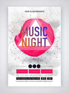 Creative abstract template banner or flyer design for Musical Night celebration with date and time details.