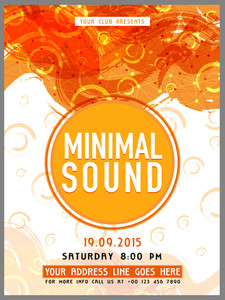 Creative abstract Template Banner or Flyer design with date and time details for Music Party celebration.