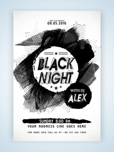 Creative abstract Template Banner or Flyer design with date and time details for Night Party celebration.
