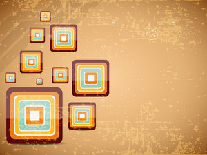 Creative And Colorful Square On Retro Background. Vector Illustration.