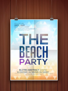 Creative Beach Party celebration flyer banner or template design on wooden background.