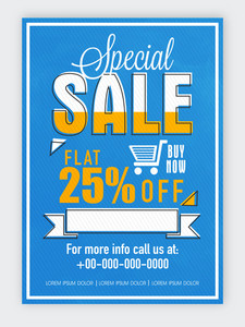 Creative blue flyer template or banner design of Special Sale with flat discount offer.
