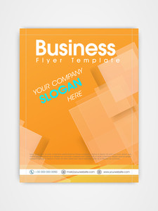 Creative business flyer template or brochure design in orange color.