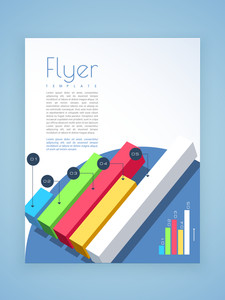 Creative business flyer template or brochure design with colorful statistic bars for professional presentation.