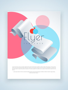 Creative business flyer template or brochure design with glossy ribbon.