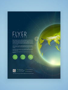 Creative business flyer template or brochure design with shiny earth.