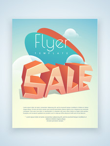 Creative business flyer template or brochure design with stylish 3D text sale.